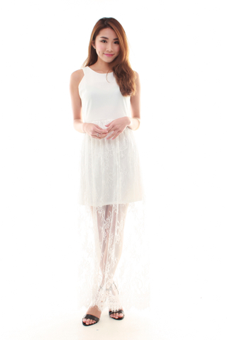 Juliet Lace Maxi Dress in White