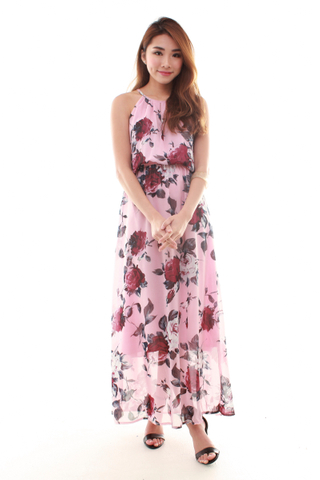 Adrienne Halter Maxi Dress in Pink Floral
