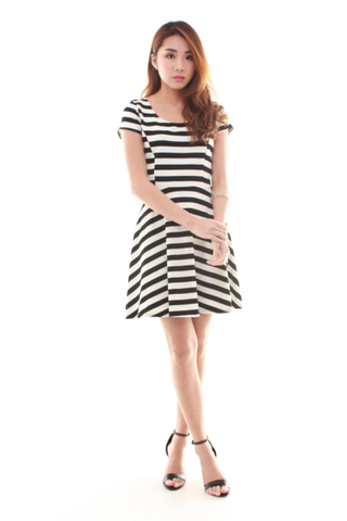 Amanda Fit & Flare Dress in Black & white Stripe