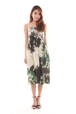 Celine Spag Midi Dress in Forest Print