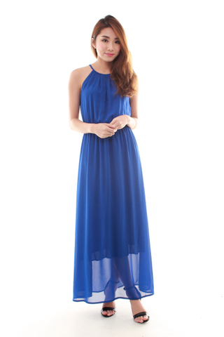 Adrienne Halter Maxi Dress in Blue