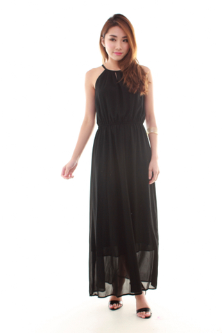 Adrienne Halter Maxi Dress in Black
