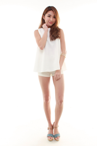 Saige Shift Tank Top in  White