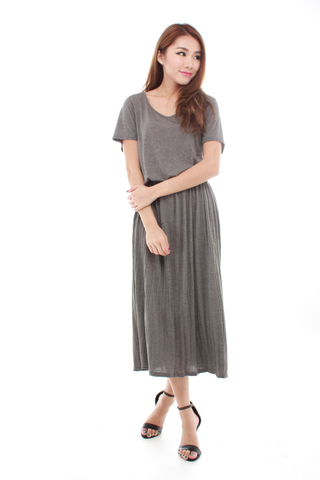 Amiee casual Midi Dress in Grey
