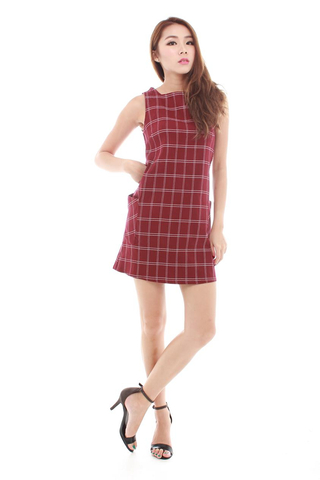 Odessa Grid Dress in Maroon