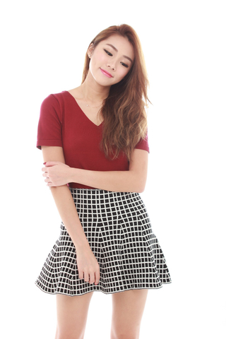 Carly Flare Skirt in Monochrome Checks