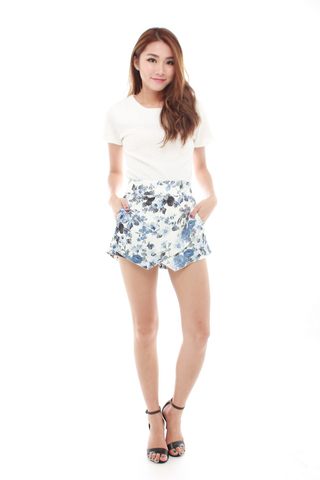 Chloe Flower Bloom Skorts in Blue Floral