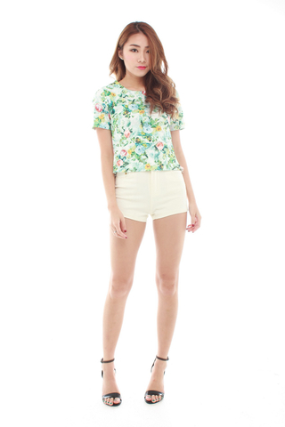 Cate Short Sleeve Shell Top in Forest Florals