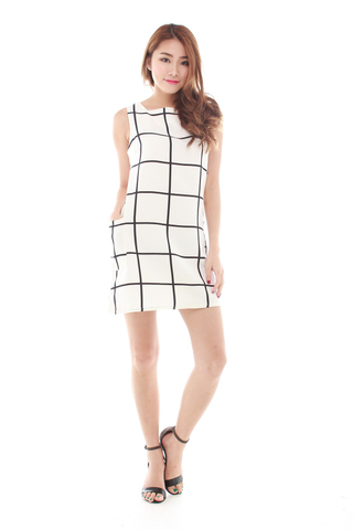 Alaina Grid Dress in White