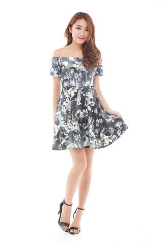 Alisa Off shoulder Flare Dress in Floral Print