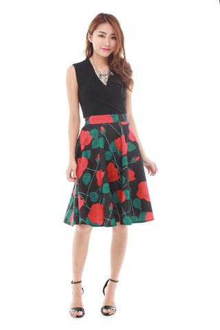 Ciel Midi Skirt in Red Florals