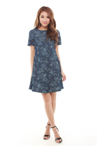 Ruby Fit and Flare Dress in Dark Denim