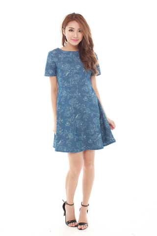 Ruby Fit and Flare Dress in Light Denim