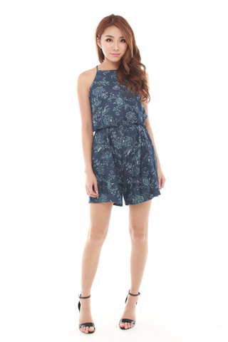 Josie Floral Romper in Dark Denim