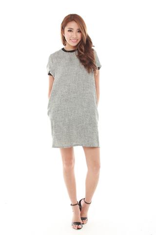 Lisea Short Sleeve Trapeze Dress in Grey