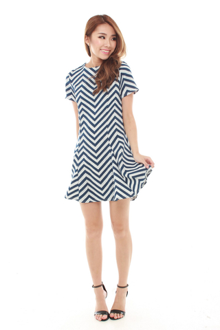 Jadze Zig Zag Skater Dress in Navy