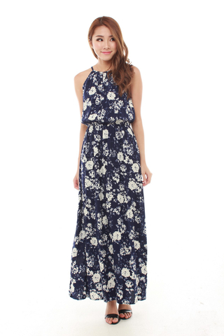 Adrienne Halter Maxi Dress in Navy Florals