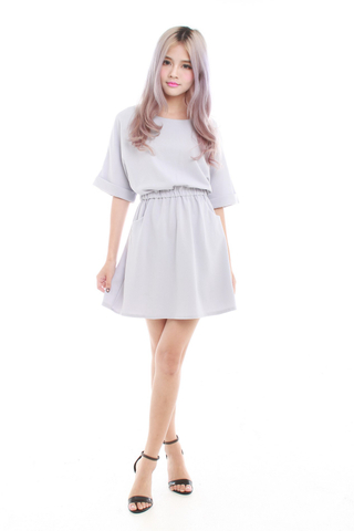Kaye Oversize Casual Dress in Pastel Grey