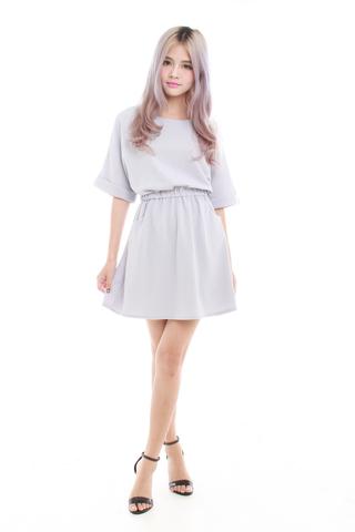 Kaye Oversize Casual Dress in Pastel Grey