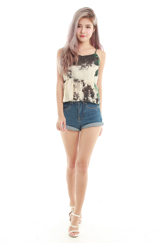 Joise Crop Spag Top in Forest Floral