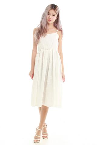 Celine Spag Midi Dress in Pure White