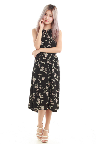 Nayda Halter Midi Dress in Black Floral