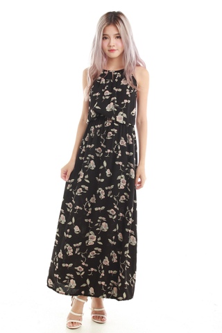 Adrienne Halter Maxi Dress in Black Floral