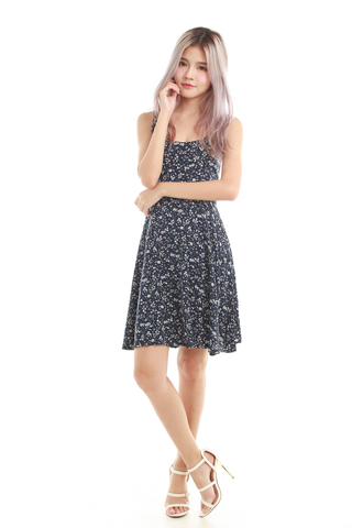 Keera Summer Dress in Navy Floral