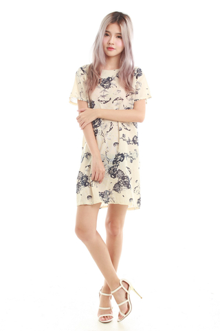 Una Printed Shift Dress in Nude Floral