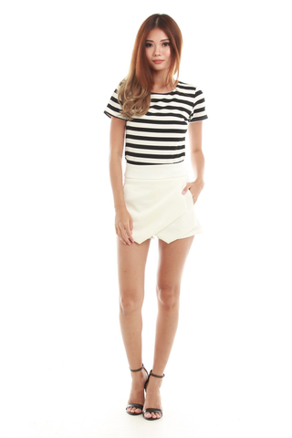 Jean Short Sleeve Stripe Top in  Big Stripe