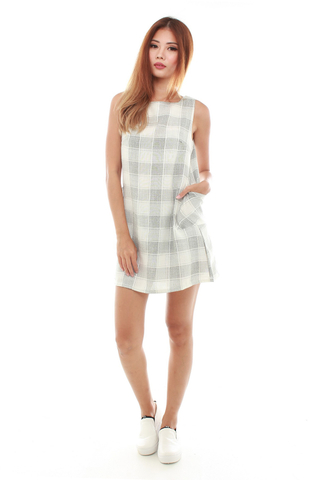 Agnes Shift Dress in Light Grey Plaids