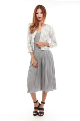 Larel Boxy Jacket in Light Grey Stripes