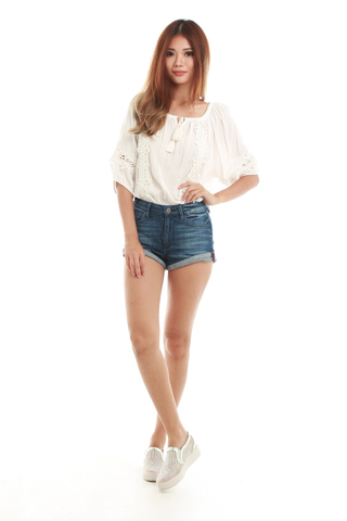 Tamina Lace Blouse in White