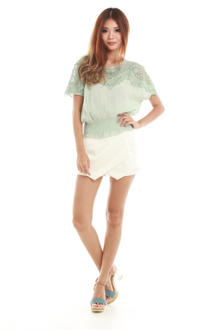 Selena Lace Blouse in Mint