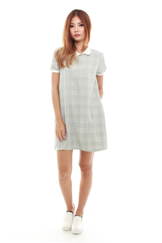 Carel Collar Shift Dress in Grey Checks