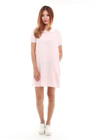 Carel Collar Shift Dress in Pink Checks