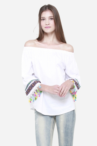 Color Me Pretty Off Shoulder Top in White