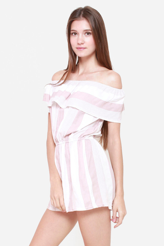 Hang Em' Off Shoulder Striped Romper in Rose