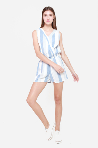 Down The Line Striped Romper in Blue