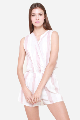 Down The Line Striped Romper in Rose