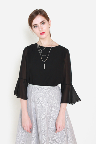 Bells Be Ringing Chiffon Top in Black