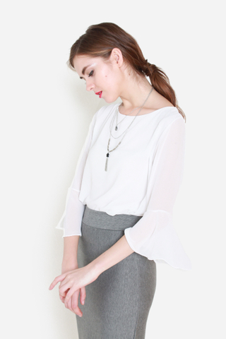 Bells Be Ringing Chiffon Top in White