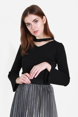 Choker Face Knit Top in Black