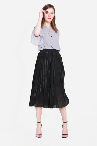 Foiling Point Metallic Skirt in Black