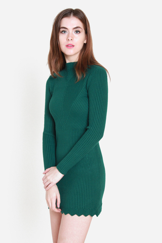 Piece of Mine Knit Dress in Forest