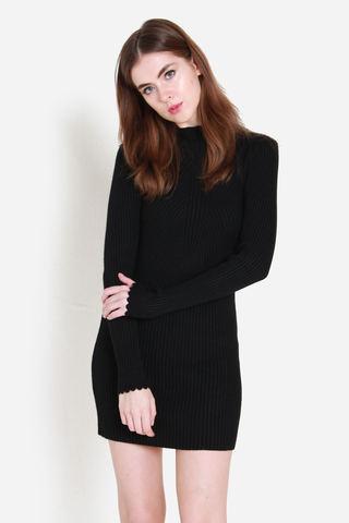 Snuggle Me Closer Knit Dress in Black