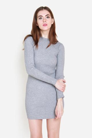 Snuggle Me Closer Knit Dress in Grey