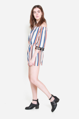 Keeping It Real Striped Off Shoulder Romper in Dusk
