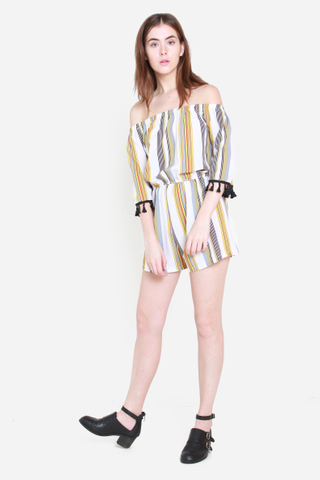 Keeping It Real Striped Off Shoulder Romper in Sunrise