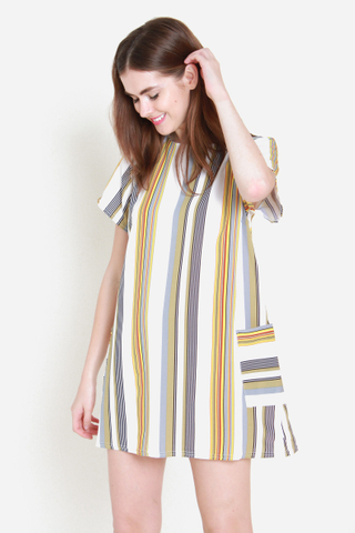 Lining Up Shift Dress in Sunrise